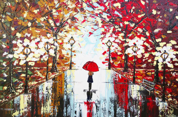 Wall Art - Painting - A Walk In The Rain by Christine Bell