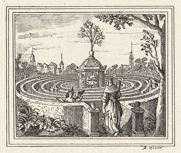 Garden Wall Drawing - A Wall Maze In A Dutch Garden by Mary Evans Picture Library