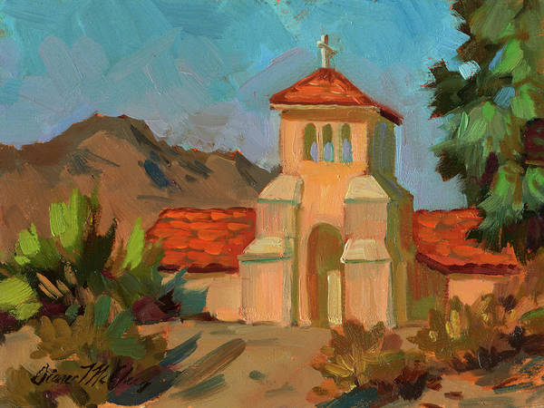 Wall Art - Painting - A Warm Day At Borrego Springs Lutheran by Diane McClary