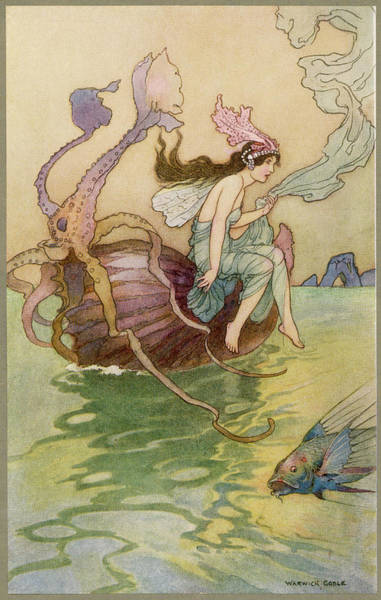 Folklore Drawing - A Water-nymph Riding On The Back by Mary Evans Picture Library