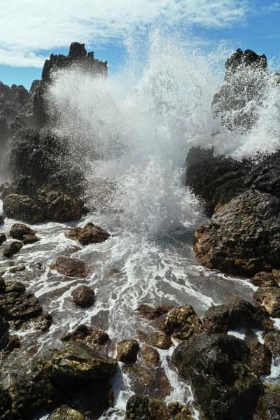 Big Island Photograph - A Wave Crashing And Splashing Against by Philip Rosenberg / Design Pics