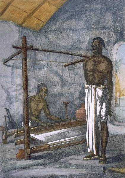 Worker Painting - A Weaver, From The Hindus, Or by Franz Balthazar Solvyns