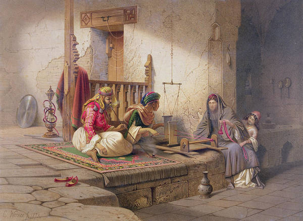 Females Drawing - A Weaver In Esna, One Of 24 by Carl Friedrich Heinrich Werner