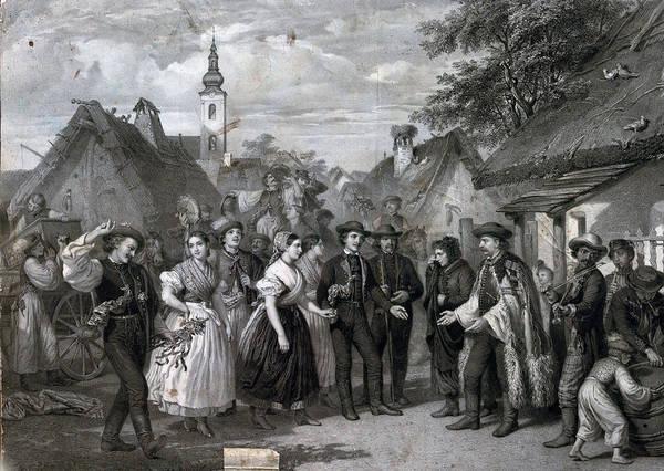 Caucasian Drawing - A Wedding In The Village, 19th Century, Men, Women, Male by Austrian School