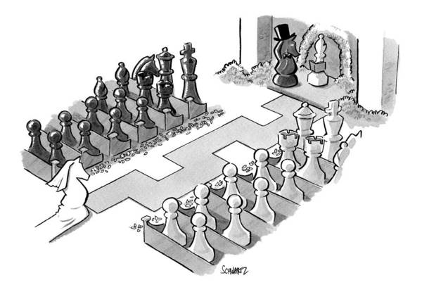 Race Drawing - A Wedding In Which The Characters Are All Chess by Benjamin Schwartz