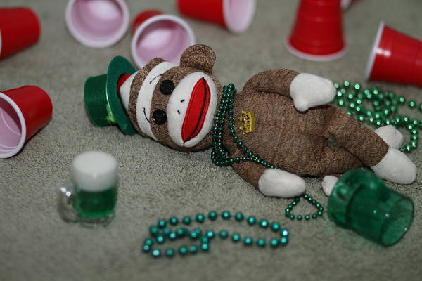 Sock Monkey Photograph - A Wee Bit Too Much by Chuck Johnson
