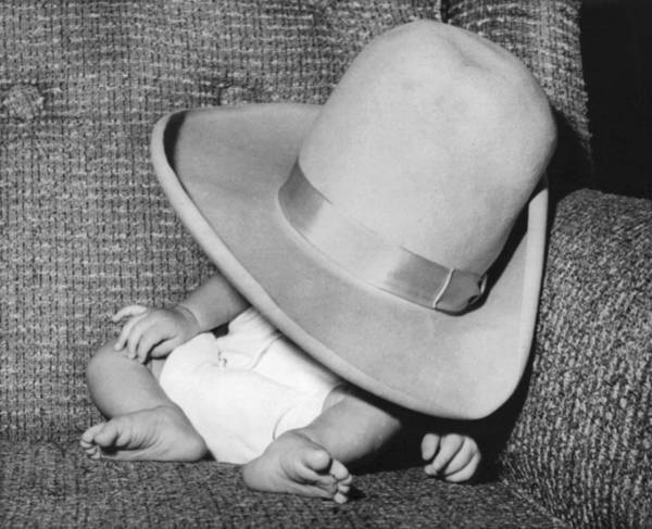 Baby Furniture Wall Art - Photograph - A Wee Weary Cowpoke by Underwood Archives