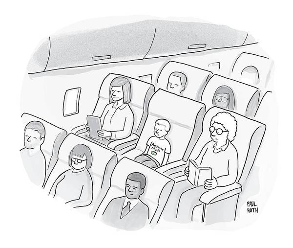 Airplanes Drawing - A Well-behaved Boy On An Airplane Wears A T-shirt by Paul Noth