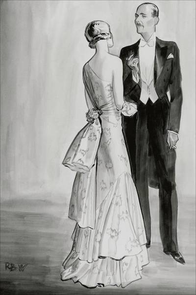 Couples Digital Art - A Well-dressed Couple by Rene Bouet-Willaumez
