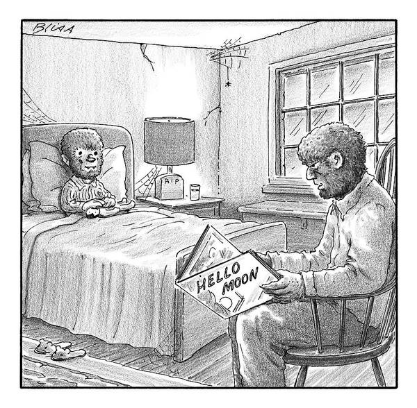 Moon Drawing - A Werewolf Father Is Reading His Werewolf Son by Harry Bliss