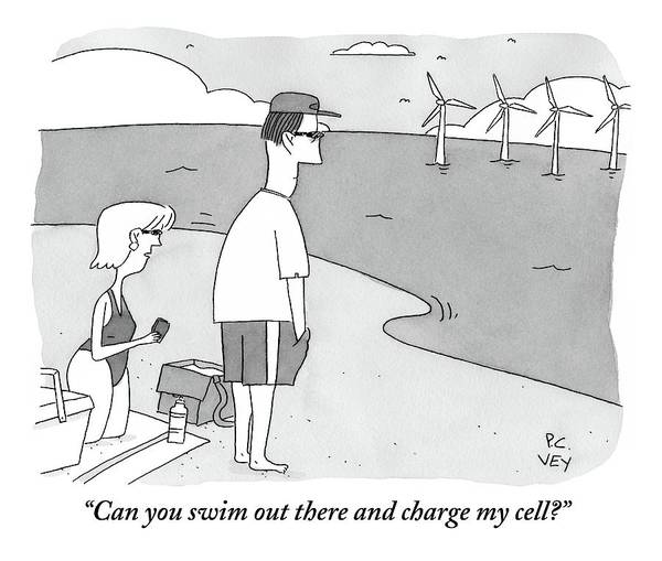 Charge Wall Art - Drawing - A Wife Speaks To Her Husband On The Beach by Peter C. Vey