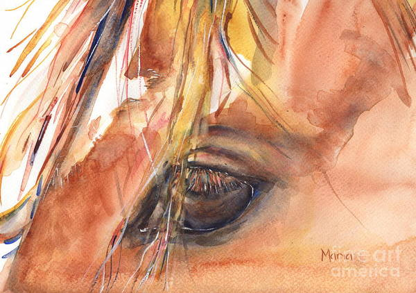 Quarter Horse Painting - Horse Eye Painting A Wink Of The Eye by Maria's Watercolor