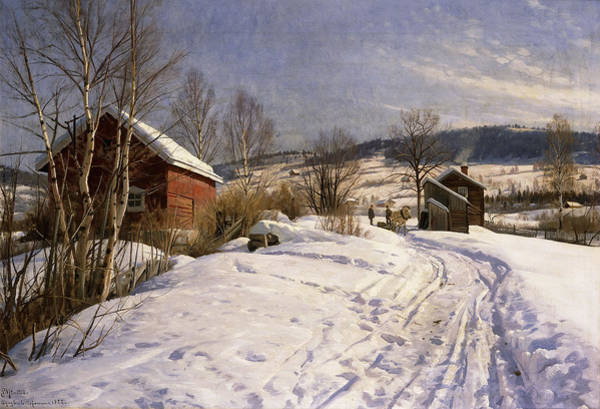Nordic Painting - A Winter Landscape Lillehammer by Peder Monsted