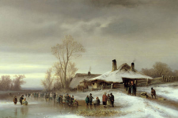 Sledge Wall Art - Painting - A Winter Landscape With Skaters by Anton Doll