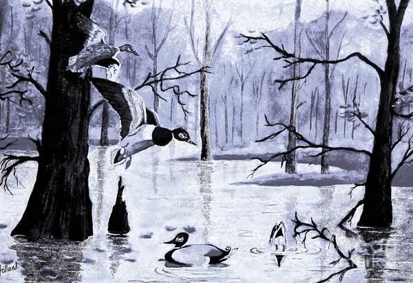 Wall Art - Painting - A Winter Reunion by Hazel Holland