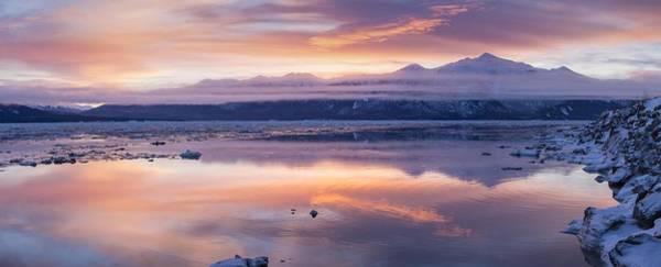 A Winter Sunset On Turnagain Arm Art Print