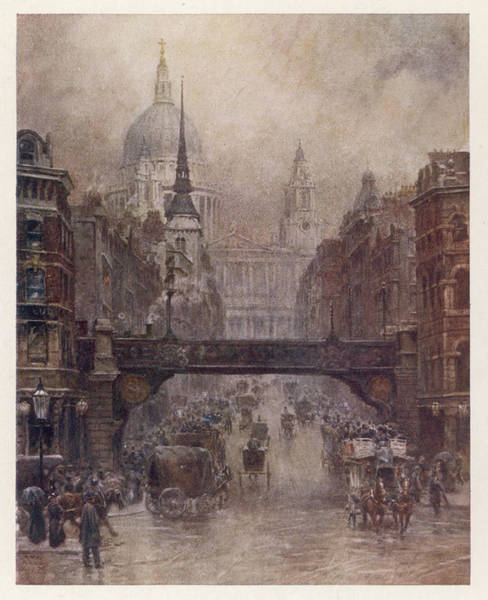 Wall Art - Drawing - A Winter's Day On Ludgate  Hill, London by Mary Evans Picture Library