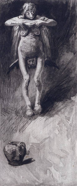 Ugly Painting - A Witch Representing Night by German School