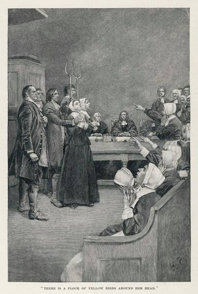 Paranormal Drawing - A Witch Trial In Massachusetts  - by Mary Evans Picture Library