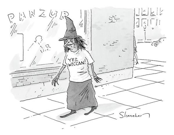 Witches Drawing - A Witch Walks On The Sidewalk Wearing A Hat by Danny Shanahan