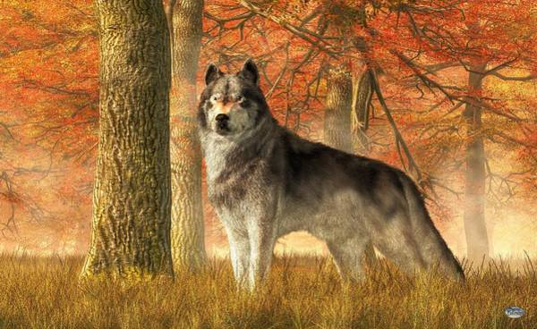 Susi Wall Art - Digital Art - A Wolf In Autumn by Daniel Eskridge