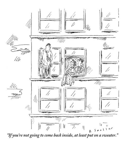 Cold Drawing - A Woman And A Policeman Look Out Of The Window by Barbara Smaller