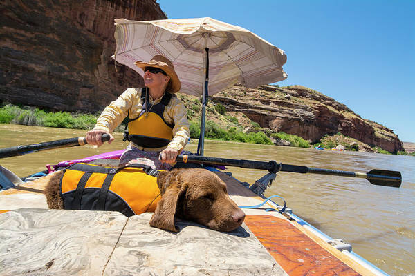 Fruita Photograph - A Woman And Her Dog Rafting by Kennan Harvey
