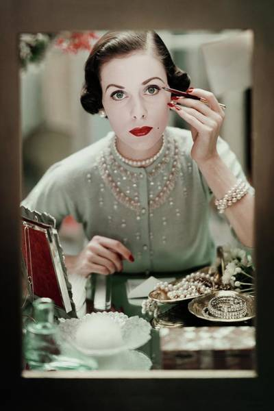 Mirror Photograph - A Woman Applying Make-up by Frances Mclaughlin-Gill