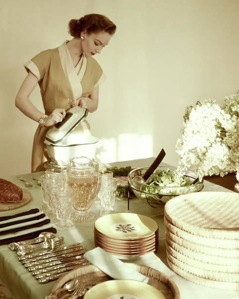 Home Accessories Photograph - A Woman At A Dining Table by Haanel Cassidy