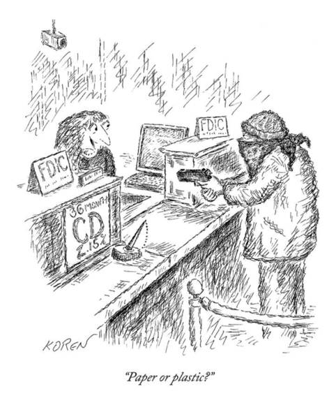 Recycling Drawing - A Woman Behind A Bank Register Speaks To A Man by Edward Koren