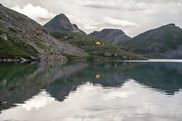 Wall Art - Photograph - A Woman Camping Near Alpine Lake, San by Kennan Harvey