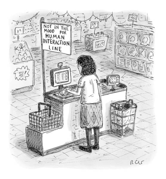 Human Drawing - A Woman Checks Out Her Groceries At The Line by Roz Chast