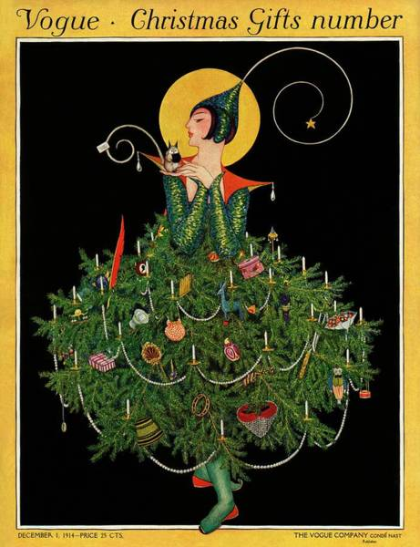 Yellow Background Photograph - A Woman Dressed As A Christmas Tree by Artist Unknown