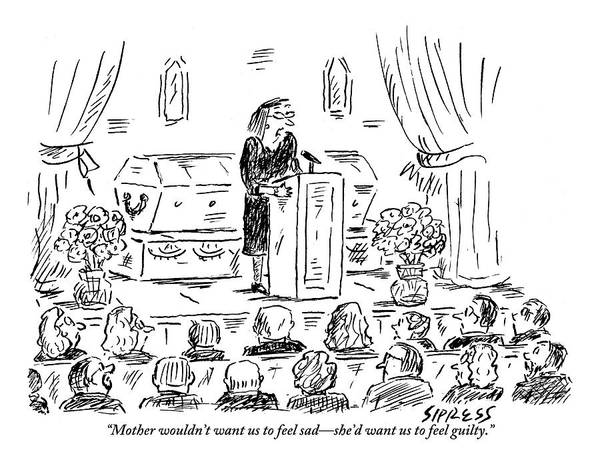 July 4th Drawing - A Woman Dressed In Black Speaks At Her Mother's by David Sipress