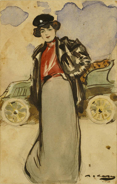 Impressionistic Drawing - A Woman Driver by Ramon Casas