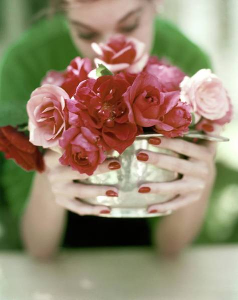 Make Up Photograph - A Woman Holding A Bowl Of Roses by John Rawlings