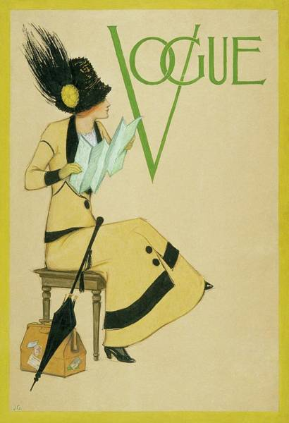 Headgear Digital Art - A Woman Holding A Map For Vogue by Jessie Gillespie