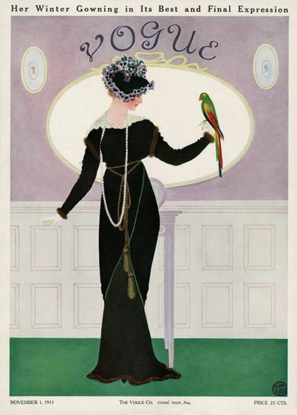 A Woman Holding A Parakeet Art Print by Mrs. Newell Tilton