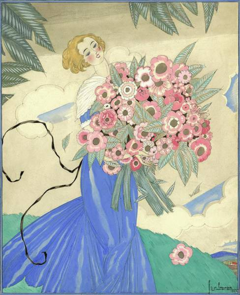 A Woman In A Blue Dress Holding A Bouquet Art Print