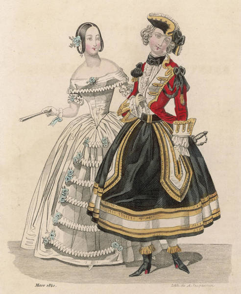 Wall Art - Drawing - A Woman In A Fancy Dress  Costume Based by Mary Evans Picture Library