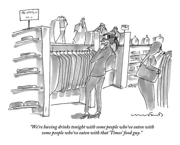July 1st Drawing - A Woman In A Pantsuit Is Shopping For What by Michael Crawford