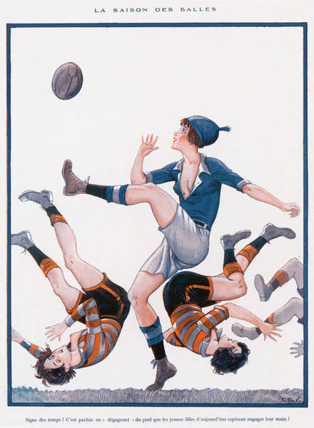 Wall Art - Drawing - A Woman In Blue Kicks The Ball  Whilst by Mary Evans Picture Library