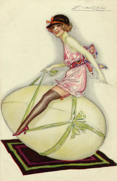 Wall Art - Drawing - A Woman In Her Underwear Riding A Large by Mary Evans Picture Library