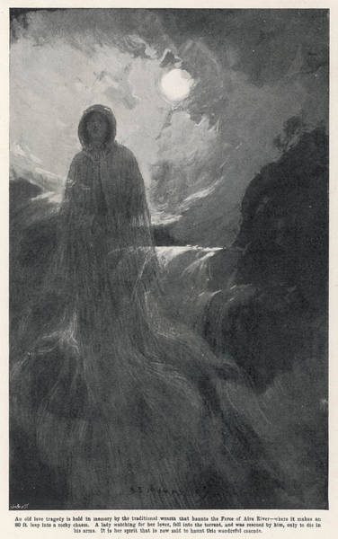 A Woman In White Haunts Aira  Force Art Print by Mary Evans Picture Library