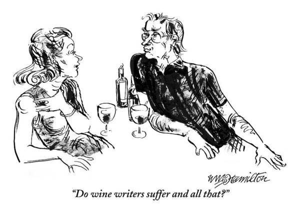 Writer Drawing - A Woman Is Seen Speaking With A Man As They Drink by William Hamilton
