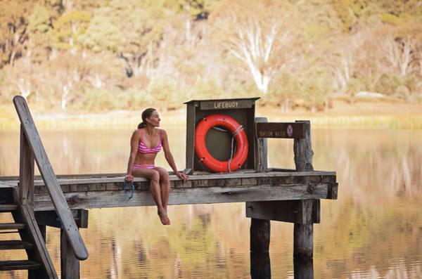 A Woman Is Sitting By A Lake, Mount Art Print