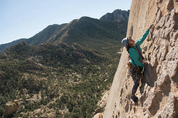 Coronado National Forest Photograph - A Woman Man Rock Climbing In Cochise by Kennan Harvey