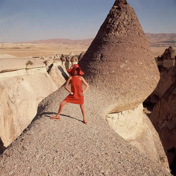 A Woman Modeling A Red Dress In Goreme Art Print