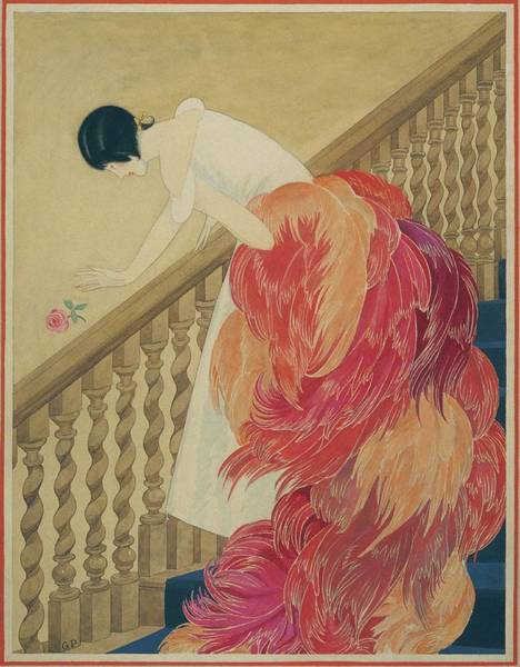A Woman On A Staircase Art Print
