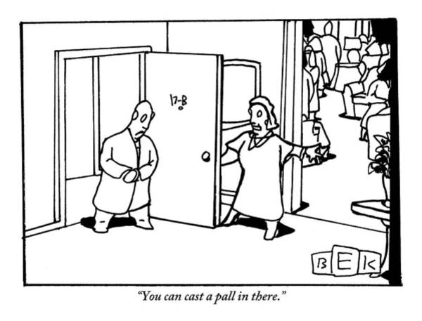 Parties Drawing - A Woman Opens The Door Of Her Apartment by Bruce Eric Kaplan